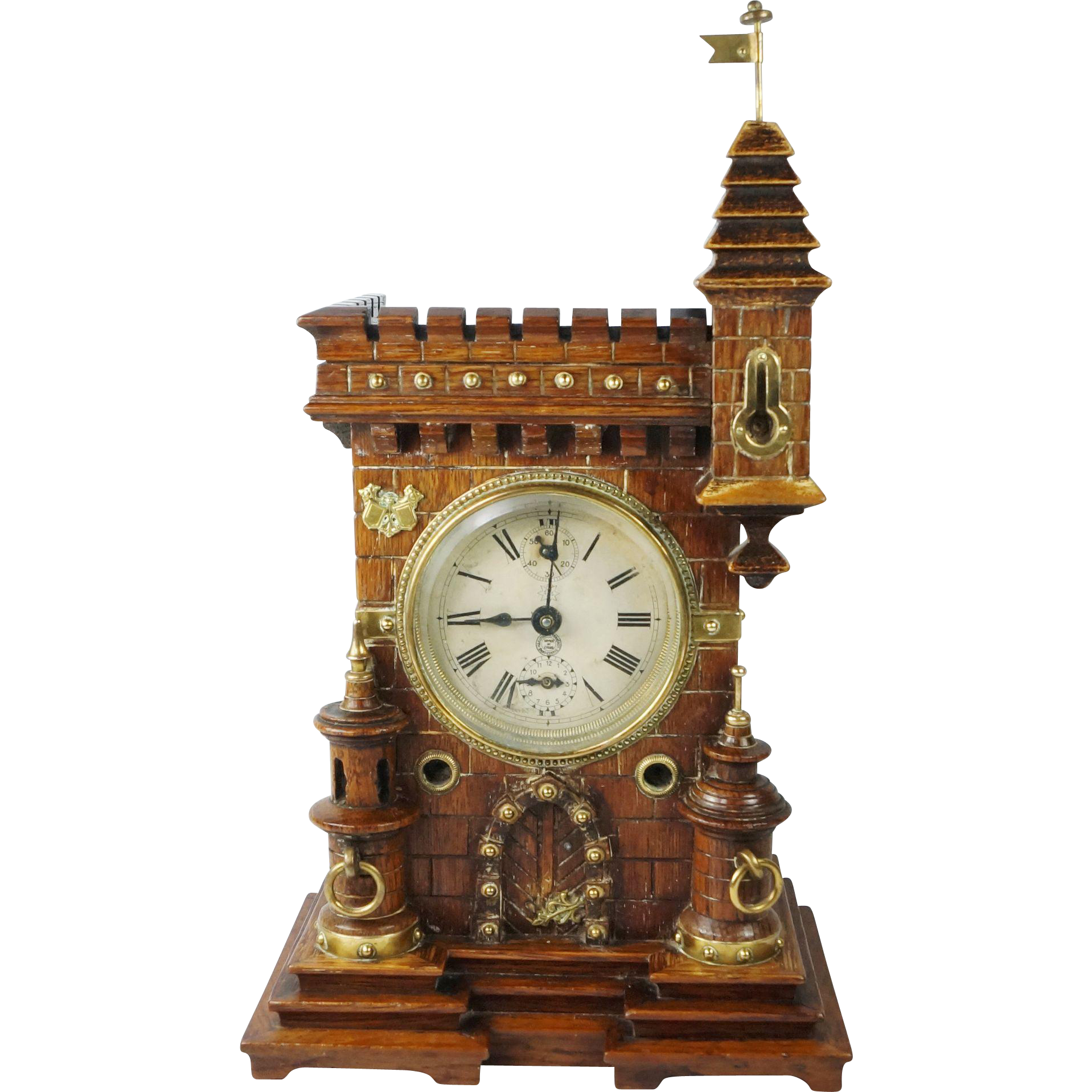 Antique 19th Century Black Forest Castle Top Clock by Junghans Handsome Gothic Design Circa 1890 Non Working