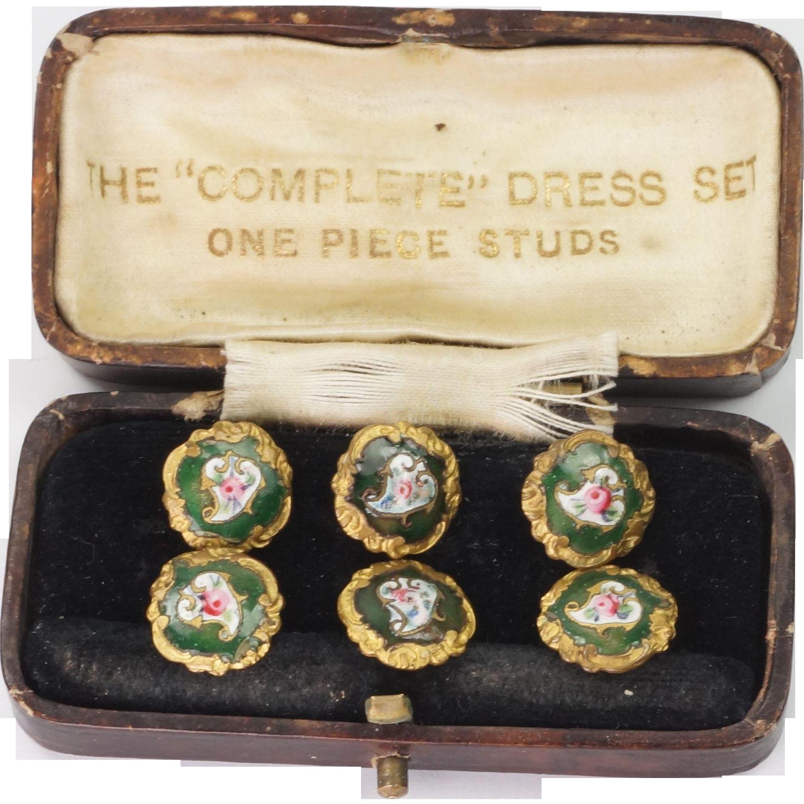 Antique French Set Six Enamel Buttons EM Paris TINY Perfect For Dolls C 1890