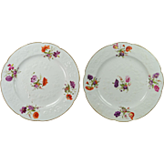 Georgian Porcelain Dessert Plates Circa 1815 Hand Painted Florals LOVELY