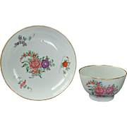 Antique Georgian New Hall Hard Paste Porcelain Tea Bowl and Saucer English Circa 1780's