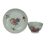 Antique English Keeling New Hall Porcelain Tea Bowl and Saucer Georgian Circa 1780
