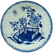 Antique 1700s Lowestoft Porcelain Plate Blue and White Hollow Rock Fence Peony Pattern English Circa 1780