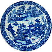 Antique Early Worcester Porcelain Plate Blue and White Bandstand Pattern English Circa 1780