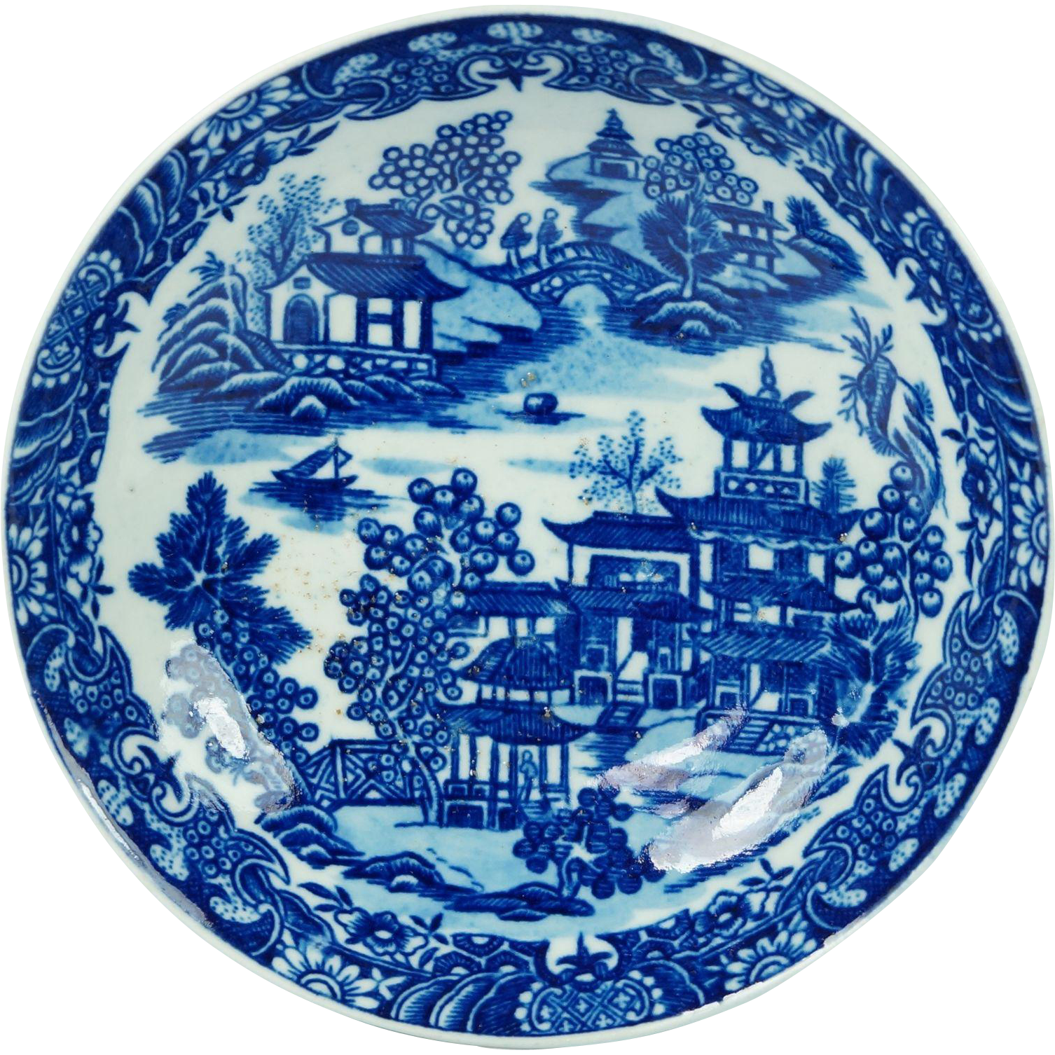 18th Century Worcester Porcelain Plate Blue and White Bandstand Pattern English Circa 1780