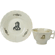 Antique Georgian Queen Caroline Commemorative Cup And Saucer Scottish Newbigging Musselburgh Circa 1820 AF