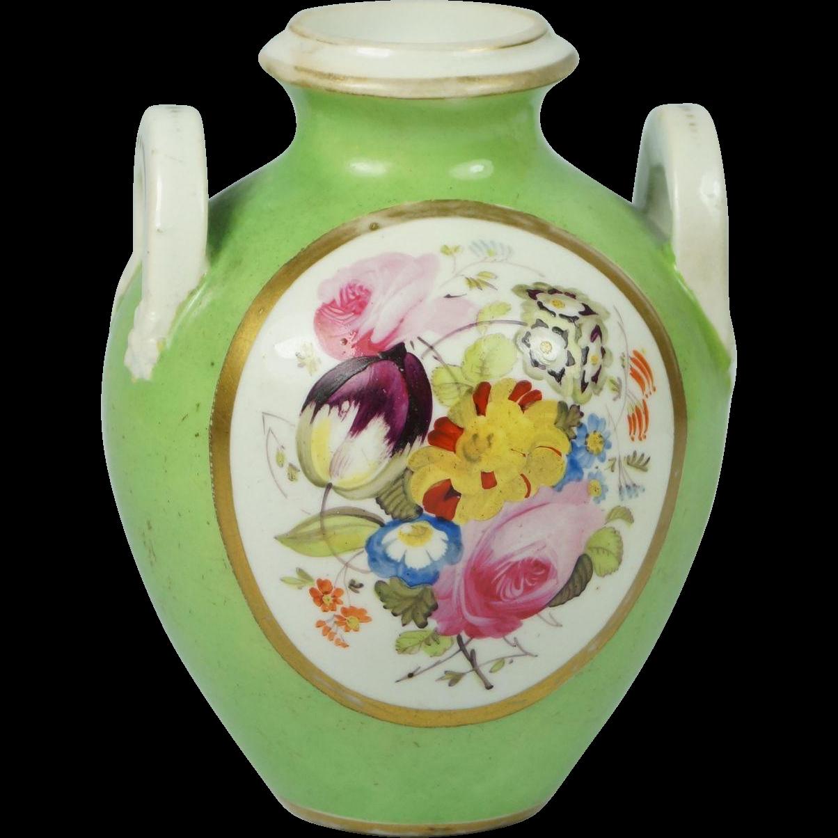 Early 19th Century Georgian Derby Porcelain Miniature Floral Amphora Vase English Circa 1811