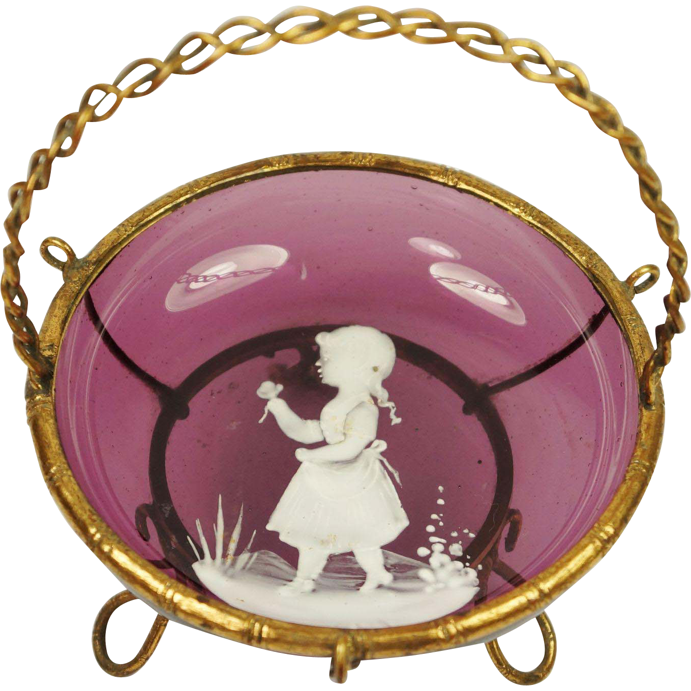 Antique French Amethyst Glass Trinket Dish Napoleon III
