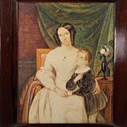 Georgian Watercolor Portrait European School Circa 1830  Exceptional Quality