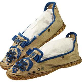 Antique Circa 1910 Shoes Rope Soled Espadrilles Edwardian Rare Tambour Stitch Examples