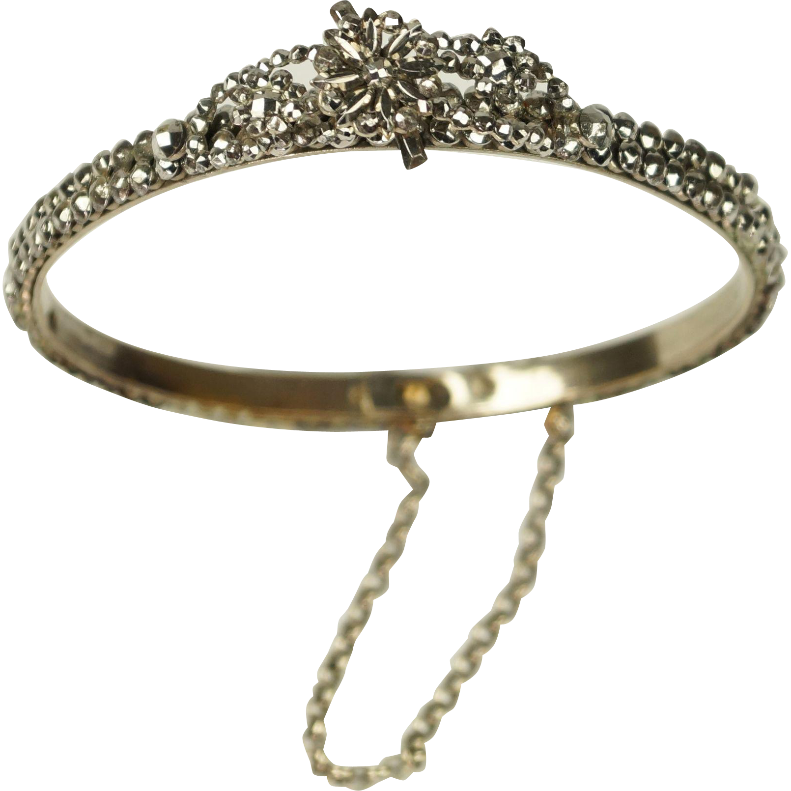 Antique Early Victorian Cut Steel Bangle Bracelet Raised Flowers Circa 1840