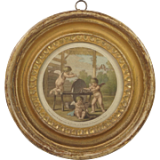 Georgian Miniature Cupid Engraving By Bartolozzi Circa 1800