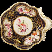 Antique Georgian Coalport Porcelain Dessert Dish Shell Shaped Hand Painted Flowers Circa 1820