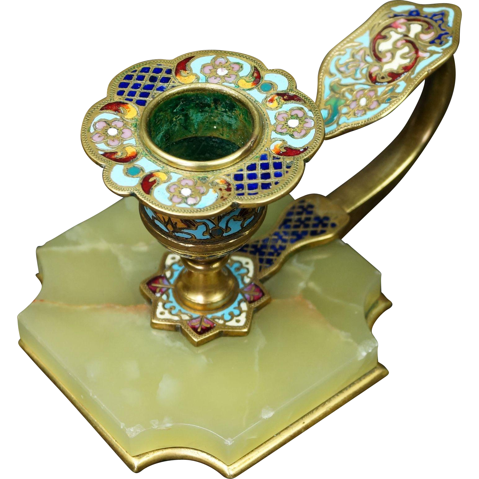 Antique 19th Century French Champleve Enamel Candlestick Circa 1890
