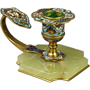 Antique 19th Century French Champleve Enamel Dore Bronze Chamberstick Candlestick Circa 1890