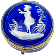 Antique Mary Gregory Cobalt Blue Miniature Box Circa 1880