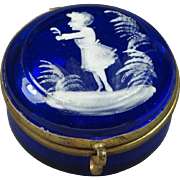 19th Century Mary Gregory Trinket Pot Cobalt Blue Miniature Pill Box Casket Circa 1880