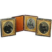 Antique 1860s 1/9 Plate Tintype Cased Photographs X 3 Mother Father and Son
