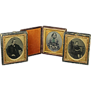 19th Century Victorian Ambrotype Tintype Cased Photographs X 3 Mother Father and Son 1860s