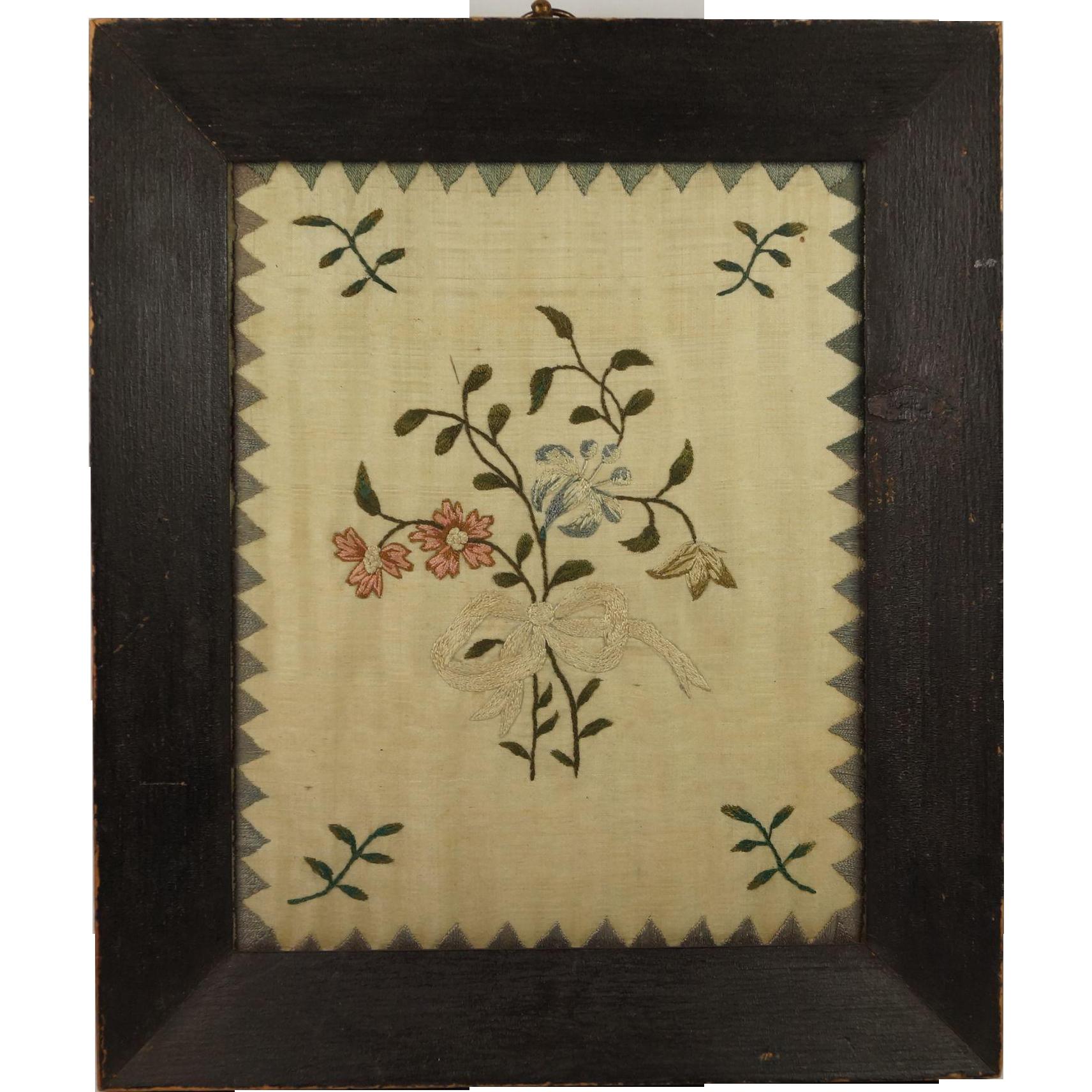 Georgian Silkwork Embroidery English Circa 1800