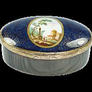 Antique Georgian Gilt Metal Mounted Porcelain Snuff Box Circa 1760 Make Do Horn Repair