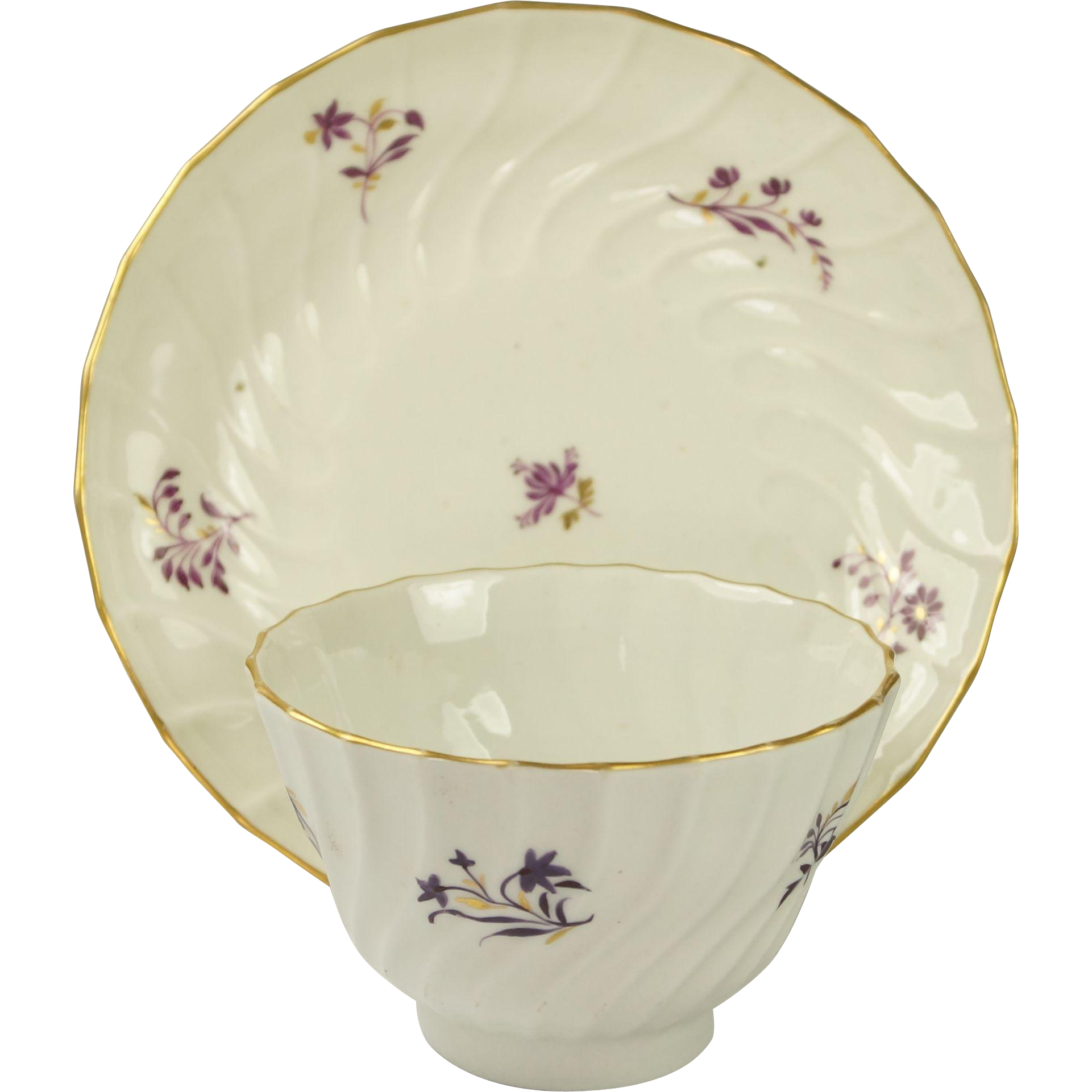 18th Century Worcester Barr Period Porcelain Tea bowl And Saucer English Circa 1790