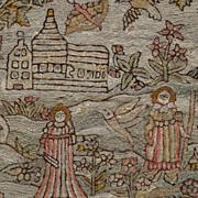 Rarest 17th Century Crewel Work Chain Stitch Embroidery Needlework of Gardeners Stuart Period Circa 1670 Anglo Indian