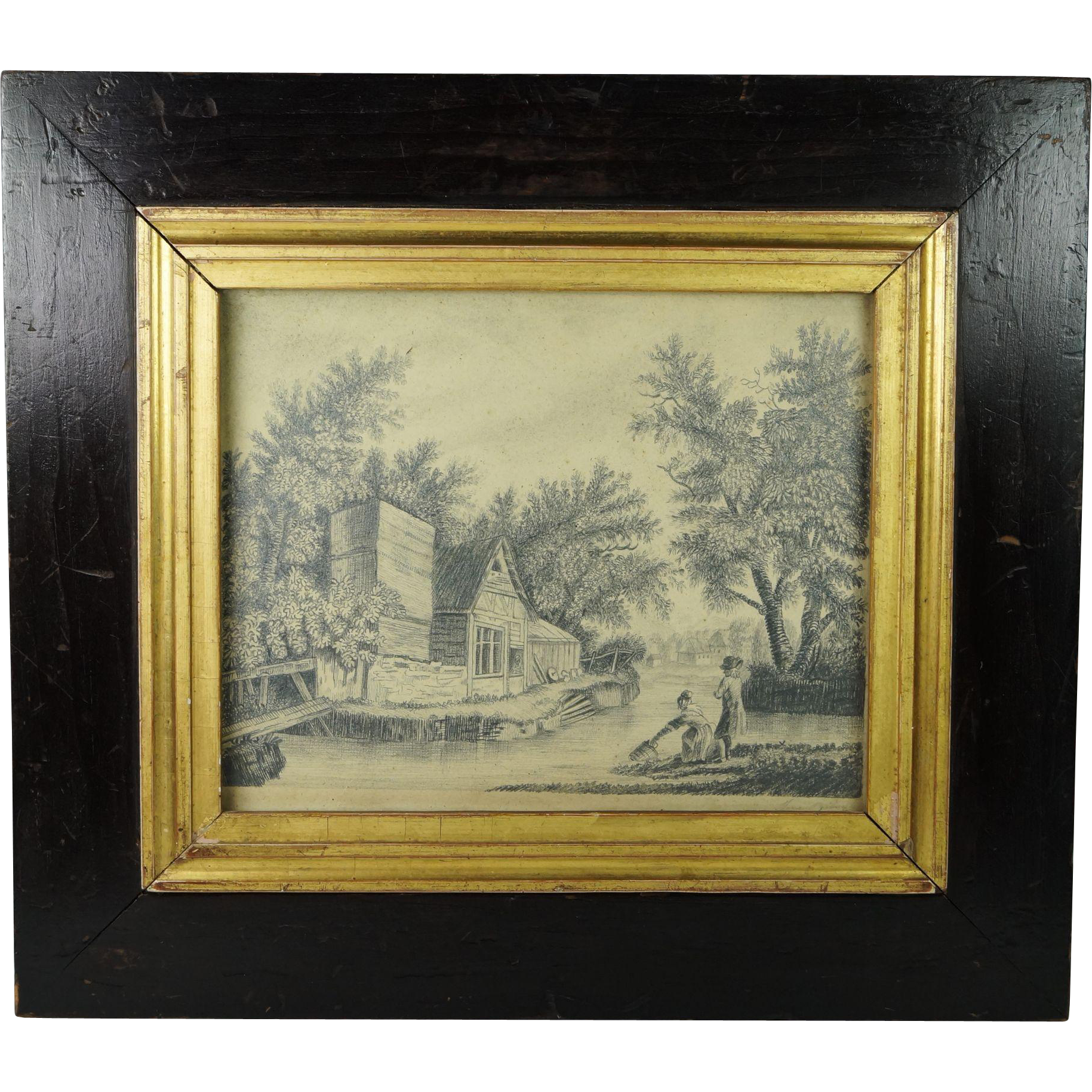 Antique Georgian Pencil Drawing Circa 1820 English Signed Miss Jane Ogilvy After Constable