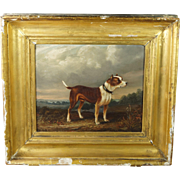 Antique 19th Century Dog Painting Oil On Panel Bull Dog Terrier English Circa 1875