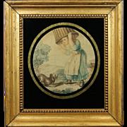 Georgian Miniature Silk Engraving English Circa 1780's
