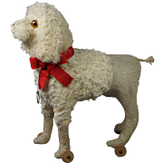 19th Century Dog Pull Toy Original Working Pull Squeaker Yapper French Poodle Circa 1890