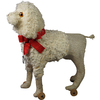 Antique 19th Century French Poodle Dog Pull Toy Original Working Squeaker Yapper Circa 1890