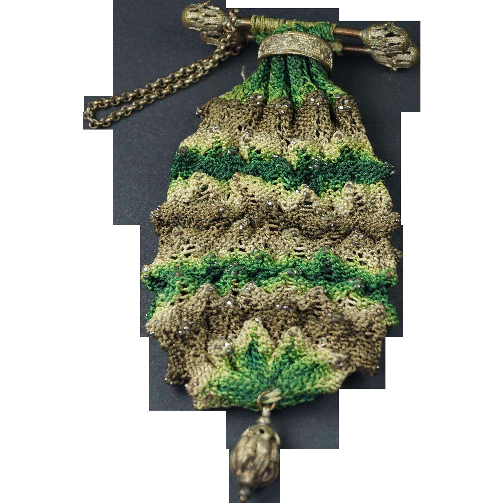 RESERVED DT Antique Regency Knitted Pineapple Finger Ring Purse Steel ...