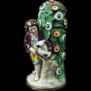 Antique 19th Century Samson Miniature Porcelain Figural Scent Bottle Dog Gold Anchor Mark Circa 1870