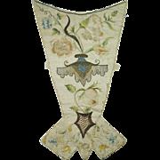 Antique 18th Century Stomacher Polychrome Silk Embroidered Circa 1720 RARE AF