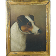 Antique Dog Portrait Oil Painting Jack Russell Terrier Signed F French Dated 1886