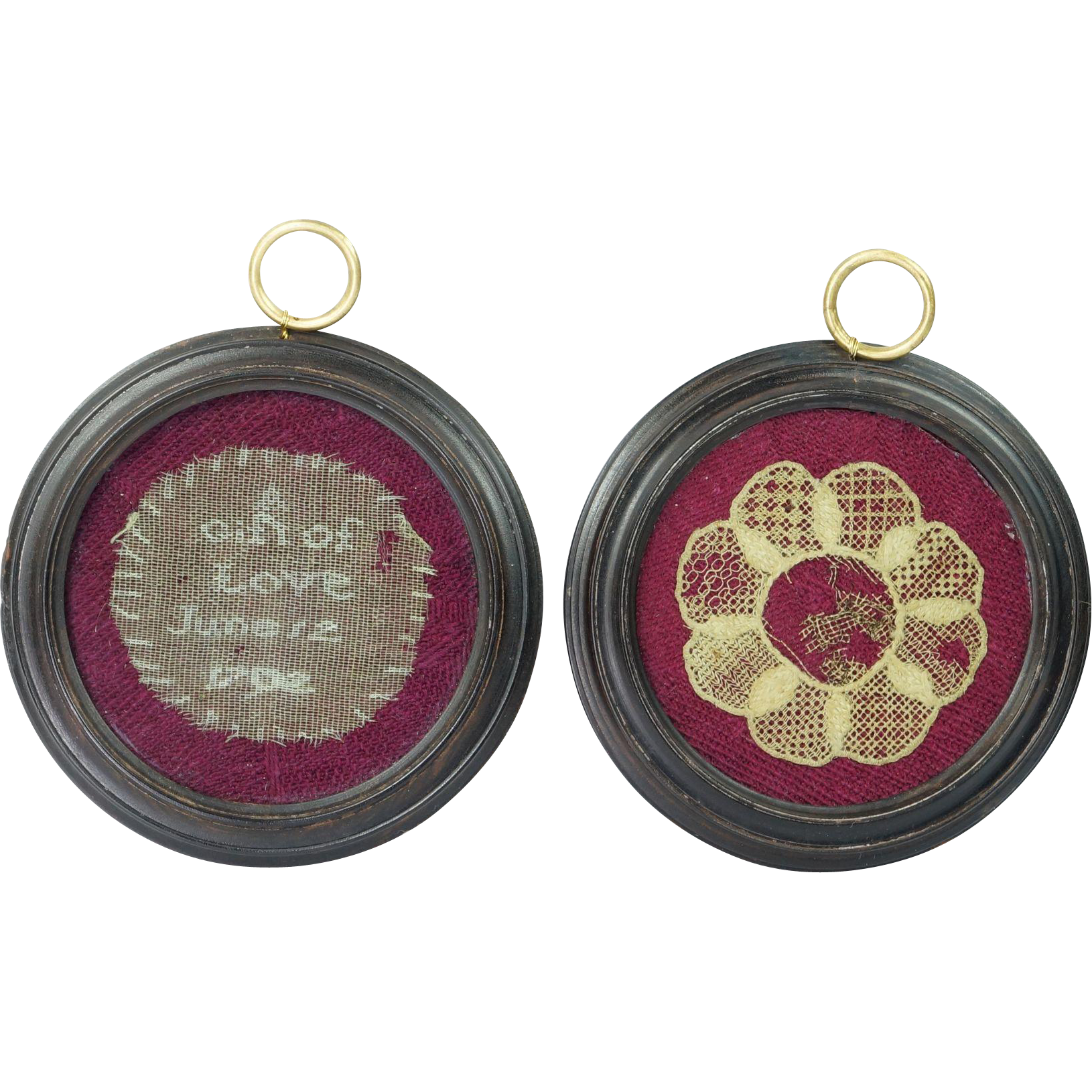 18th Century Pair Pocket Watch Sampler Needle Lace Love Tokens Dated 1792 Very Rare