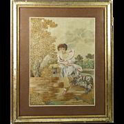 Antique Georgian Silkwork Embroidery Child and Bichon Frise Dog Super Condition Circa 1790
