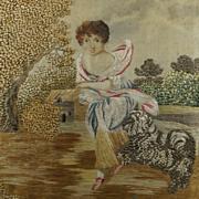 Antique 18th Century Silkwork Rare Dog and Child Scene Georgian 1790 English
