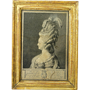 Antique Rare French 1700s Engraving Marie Antoinette By Jean Baptiste Isabey 1783