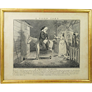 Antique Georgian I Cruikshank Satirical Etching A Good Joke A Groggy Parson Published by Laurie and Whittle 1799