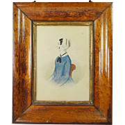 19th Century Folk Art Portrait Victorian Lady Circa 1845 Charming English Naive School