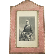 Antique English 19th Century Photograph Frame Pink Silk Made By Walter Jones London Photogravure Photograph By Queen's Photographer J Thomson QUALITY