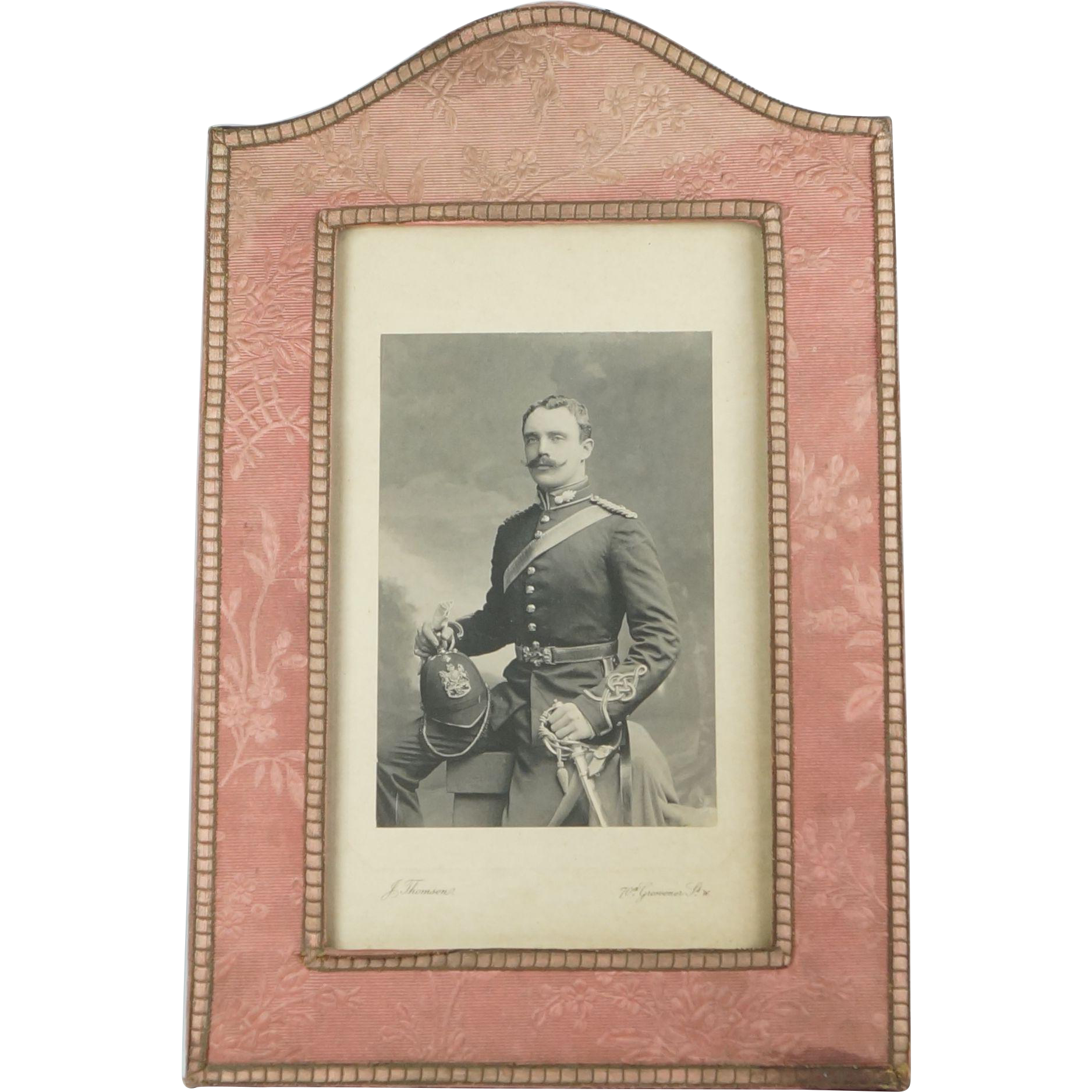 Antique English Picture Frame English Country House Pink Silk Photogravure Photograph By The Queen's Photographer J Thomson QUALITY