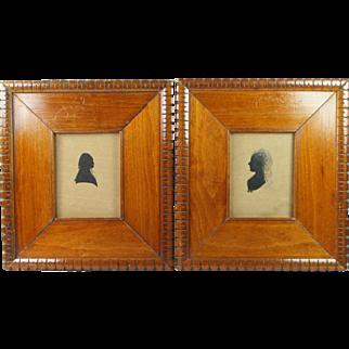 Antique 19th Century Pair Of Painted Silhouettes of George Washington and Martha Washington Folk Art
