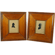 Antique Folk Art Silhouette Pair George Washington and Martha Washington