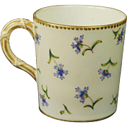 Antique 1881 Royal Worcester Coffee Can Demitasse Cup Aesthetic Movement Bamboo Handle
