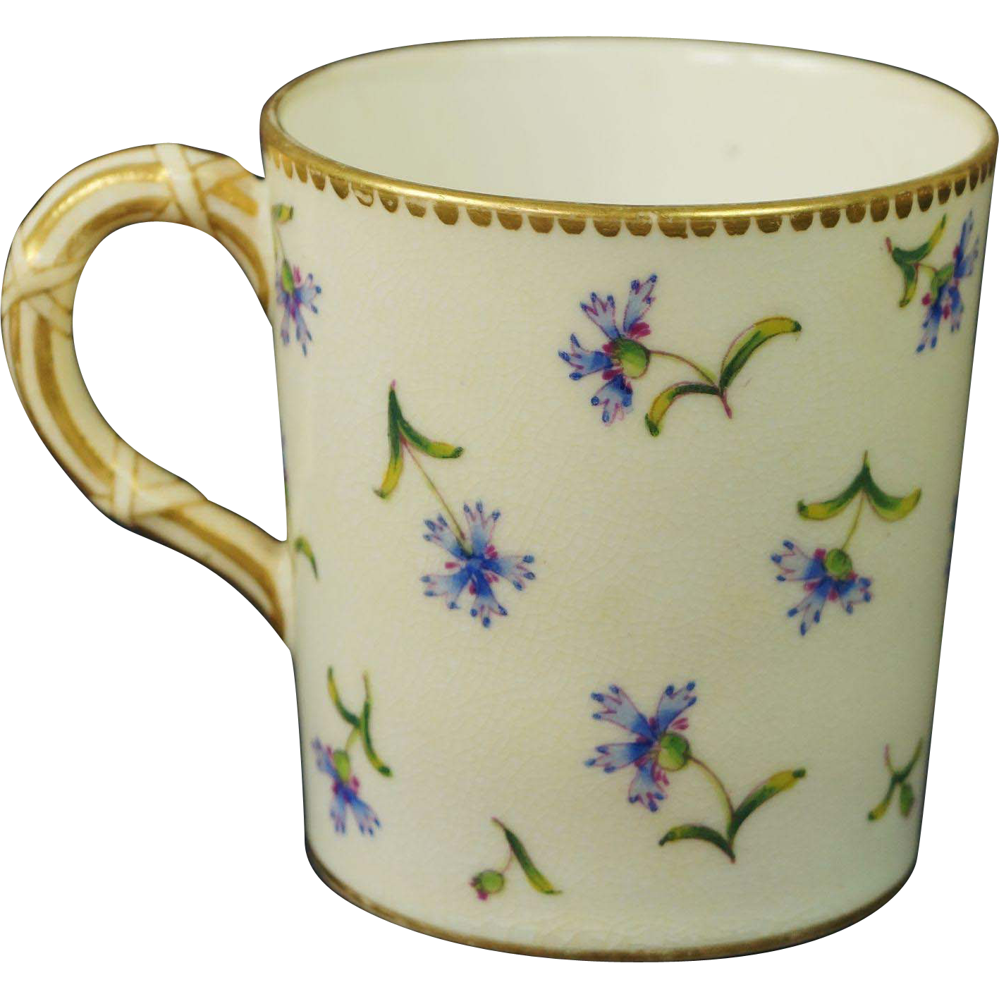 Antique 19th Century Royal Worcester Coffee Can Demitasse Cup Aesthetic Movement Bamboo Handle 1881