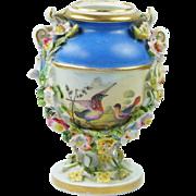 Georgian Miniature Derby Porcelain Vase Birds Encrusted Flowers Circa 1825 After Richard Dodson