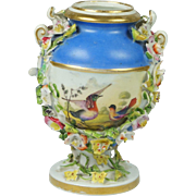 Georgian Derby Porcelain Miniature Vase Birds Encrusted Flowers Circa 1825 After Richard Dodson