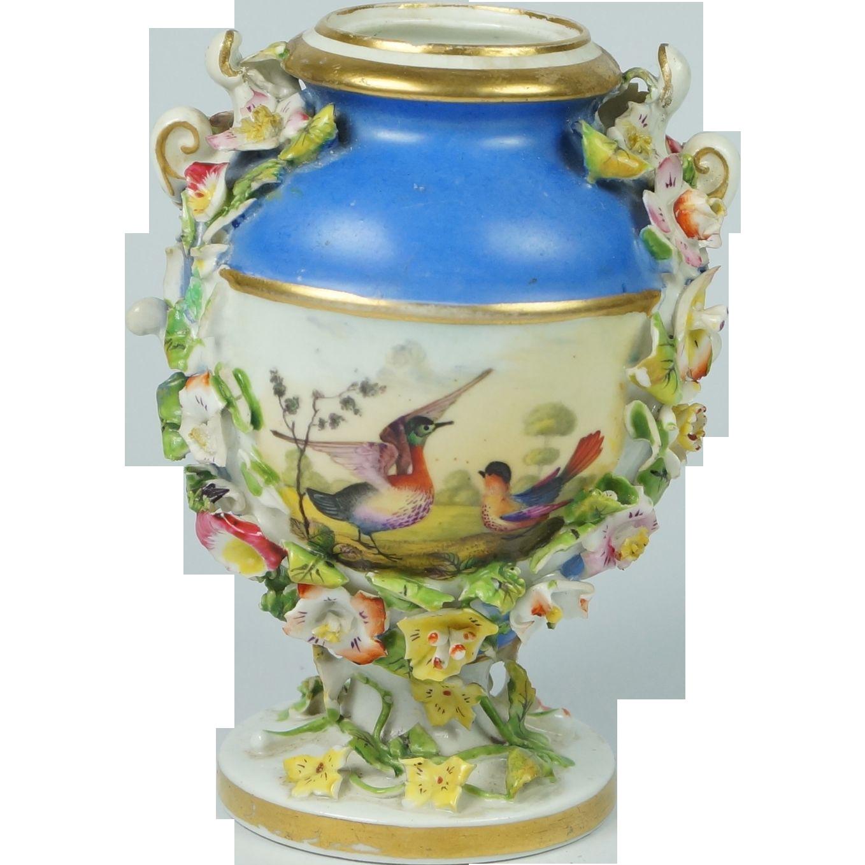 Georgian Derby Porcelain Miniature Vase Birds Encrusted Flowers Circa 1825 After Richard Dodson